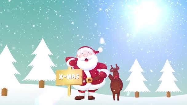 Télapó és a rénszarvas karácsonyi Banner animáció