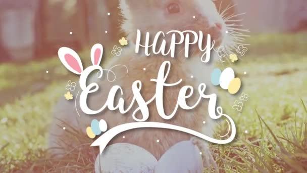 Bílé Velikonoce s velikonoční vajíčka sedí v trávě