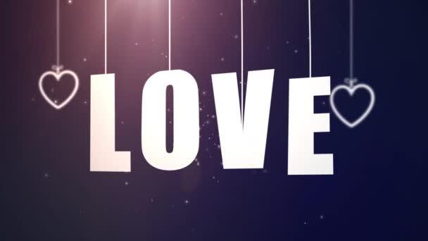 Liebesbriefe hängen an Schnur und fallen mit blauem Hintergrund von der Decke