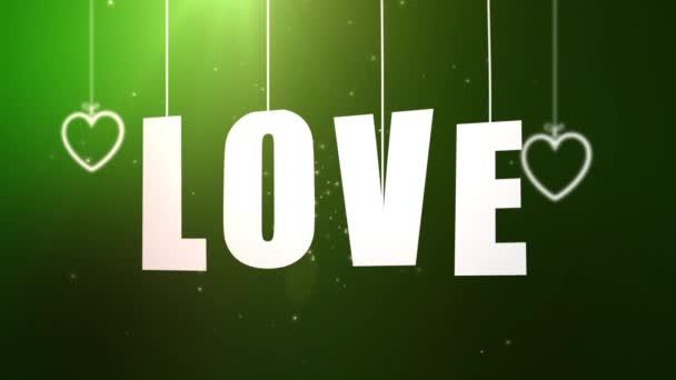 Milostné dopisy na řetězec padající ze stropu s zelené pozadí