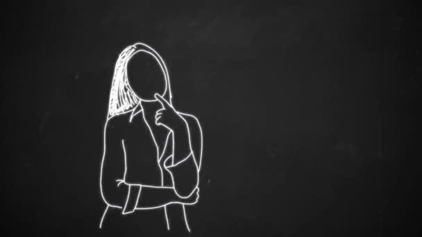 Kreide Zeichnung Animation der jungen Frau mit Denken Blase Animation