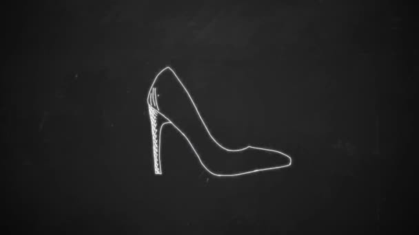 hand drawing line art showing shoe symbols with white chalk on blackboard animation