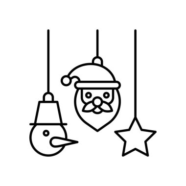 snowman faces, stars and santa faces vectors, in lineal style