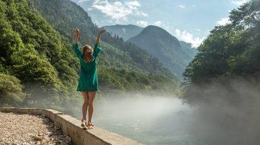 4K. Aapsta mountain river, waterfall, Abkhazia. Ultra HD. 3840x2160