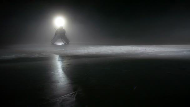 Hokejový brankář je čekání na soupeře