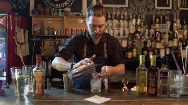 Bartender working in pub mixing ingredients in shaker for making cocktails