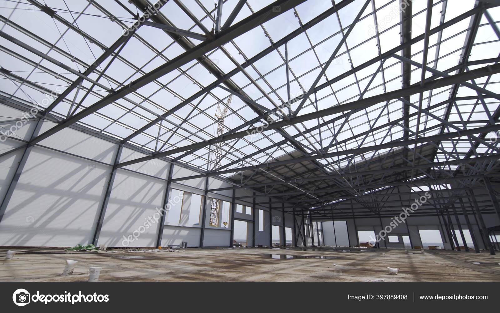 Pembangunan Pabrik Atau Gudang Modern Eksterior Industri Modern Pemandangan Panorama Tempat Konstruksi Gudang Modern Struktur Struktural Baja Bangunan Komersial Baru Stok Foto C Spocktv 397889408
