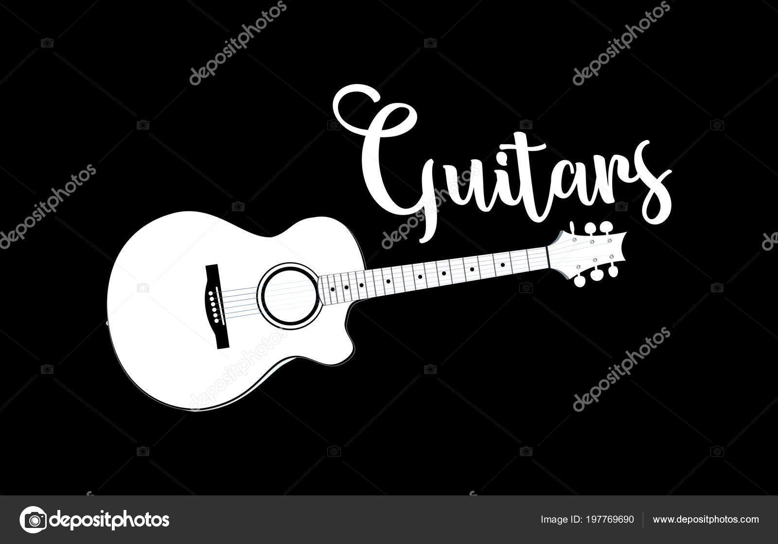 plantilla logotipo tienda guitarra vector emblema guitarra blanca