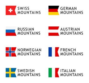 Set of Logotype templates for tours to Mountains, Alps, Scandinavia, Caucasian Mountains