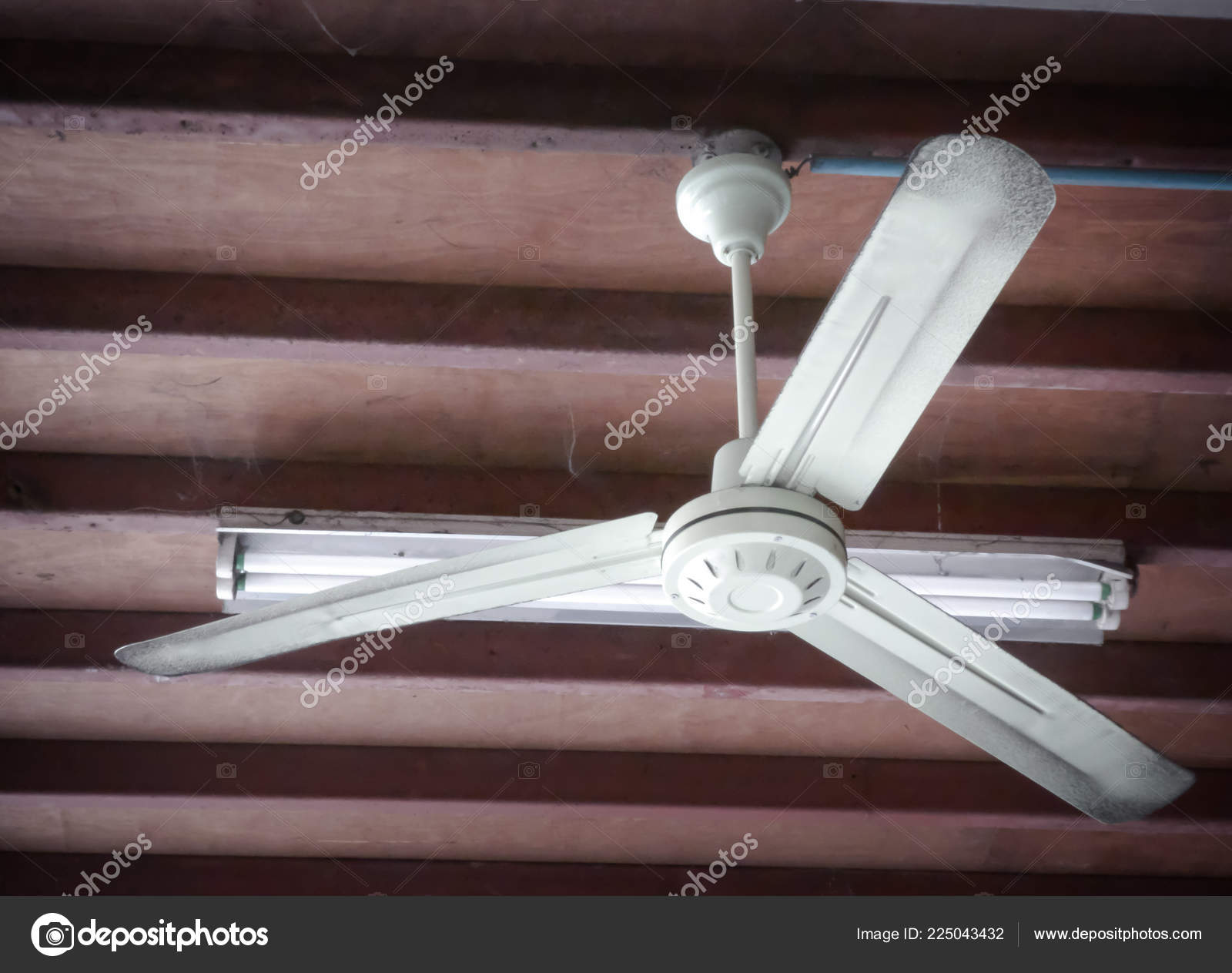 Electric Fan Rotating Wooden Ceiling Old Room Stock Photo C Vichailao 225043432