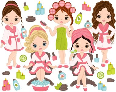 Vector Spa Set with Young Girls and Spa Elements
