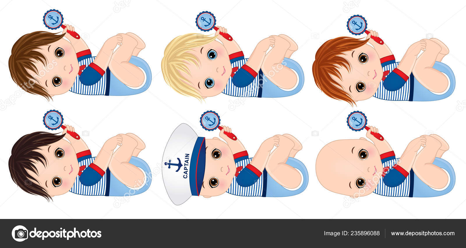 Vector Cute Little Baby Boys Dressed Nautical Style Holding Rattles