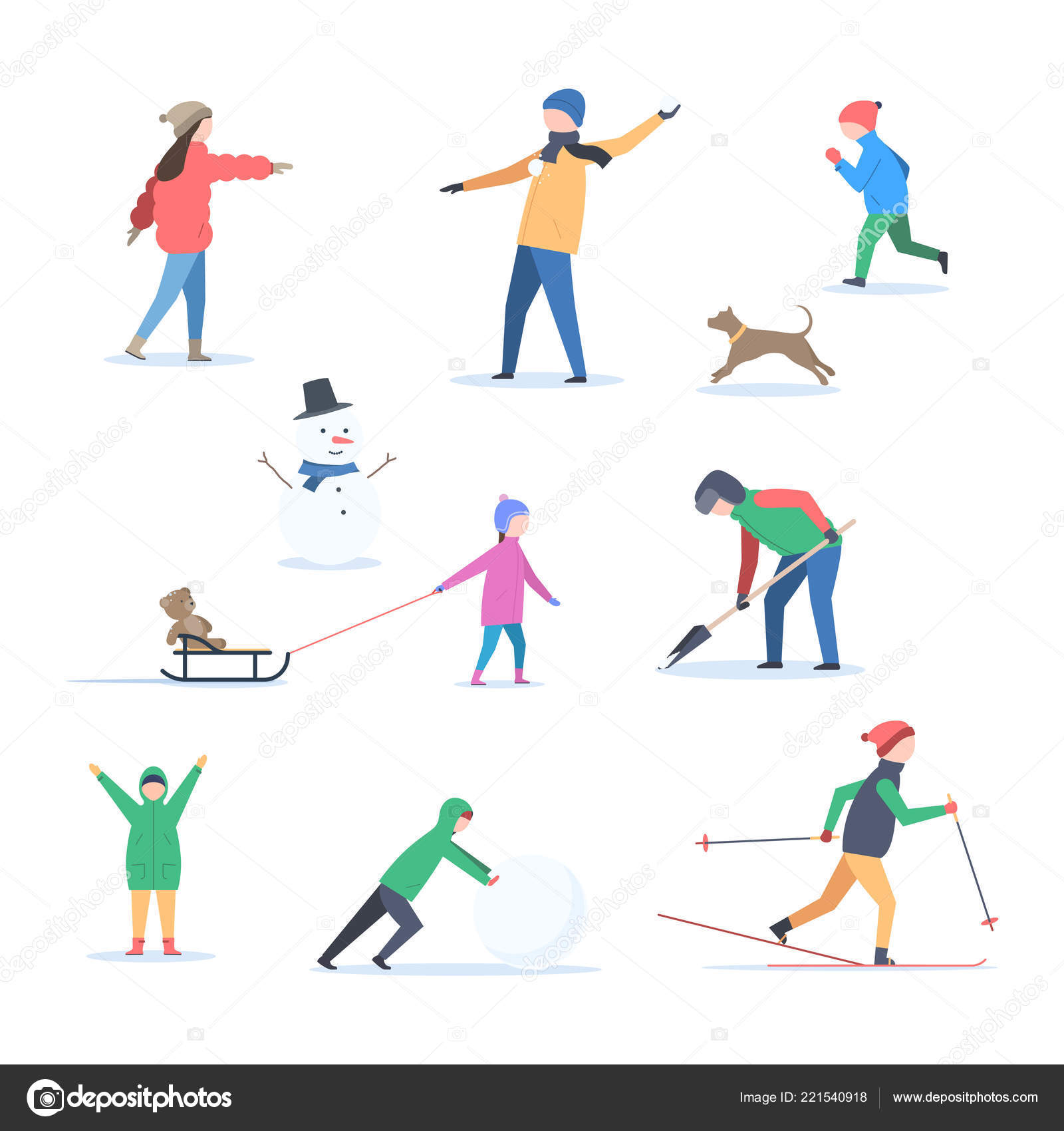 3db84c57d People in winter outdoors — Stock Vector © EgudinKa  221540918