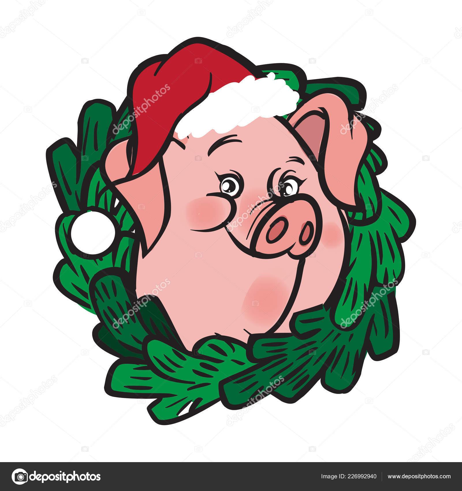 Grappige Vector Cartoon Piggy Kroon Van Kerstmis Wensen Gelukkig