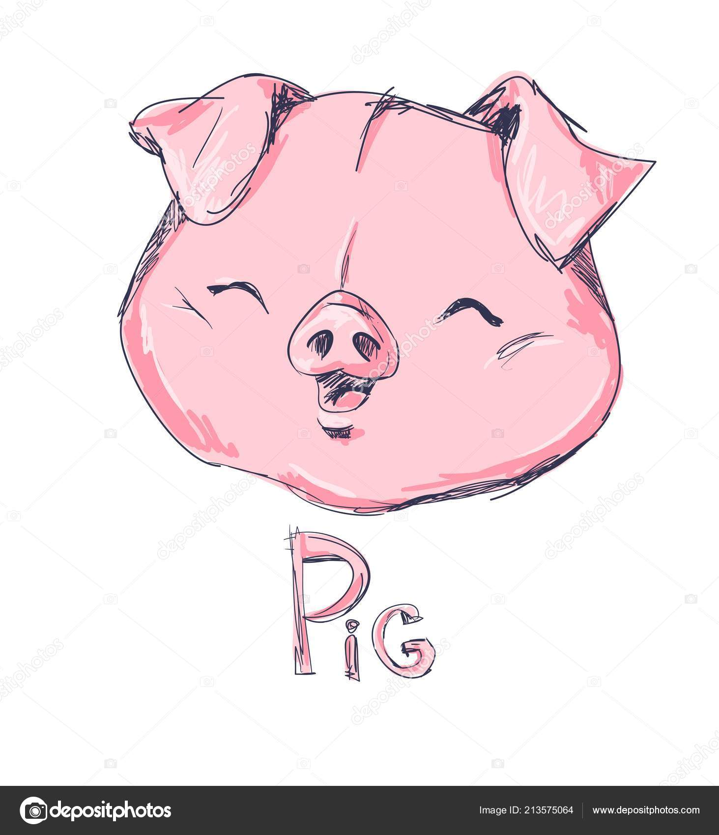 head cute pink pig vector illustration stock vector alsoush