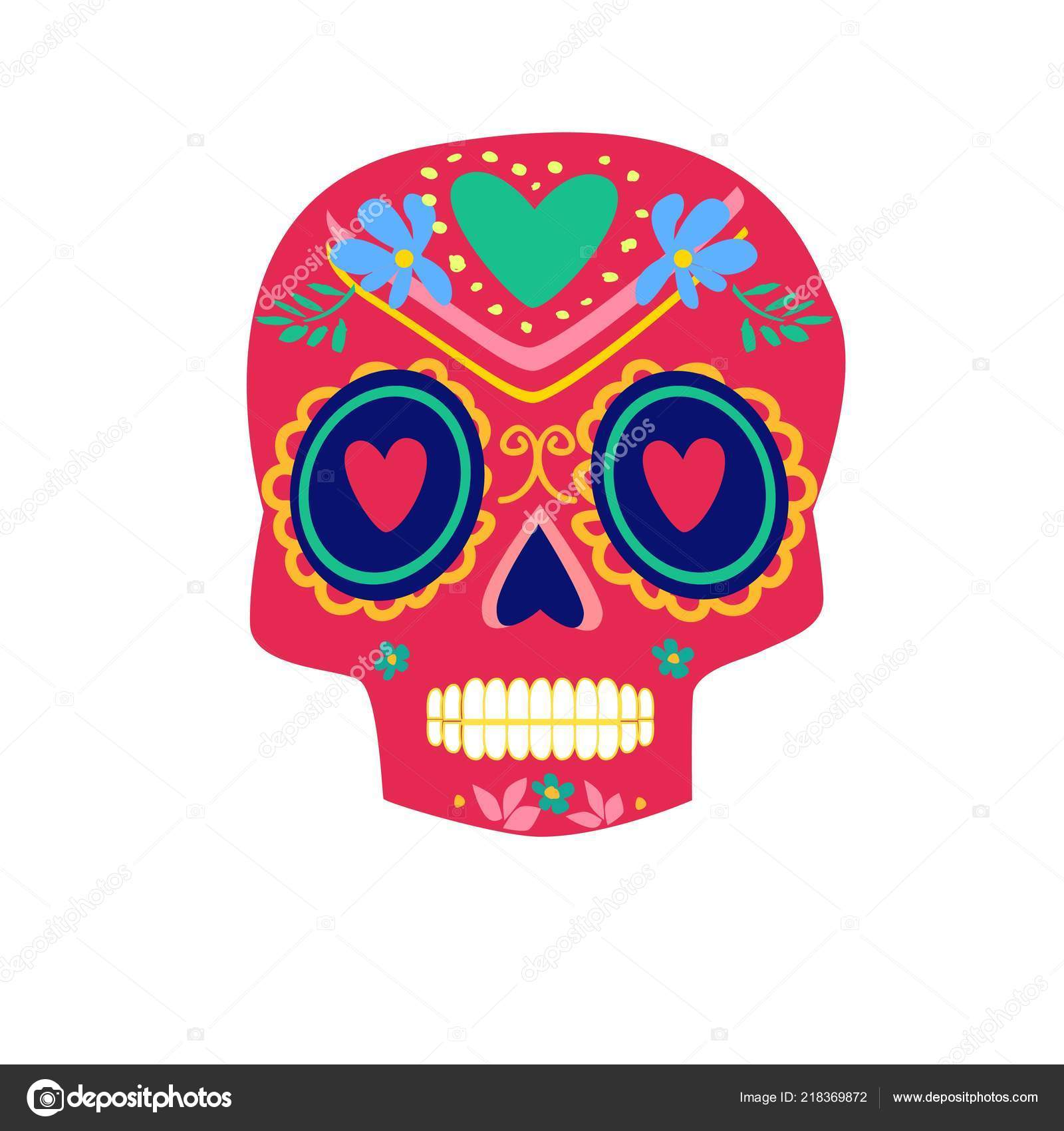 day dead poster colorful skull vector illustration mexican dia los