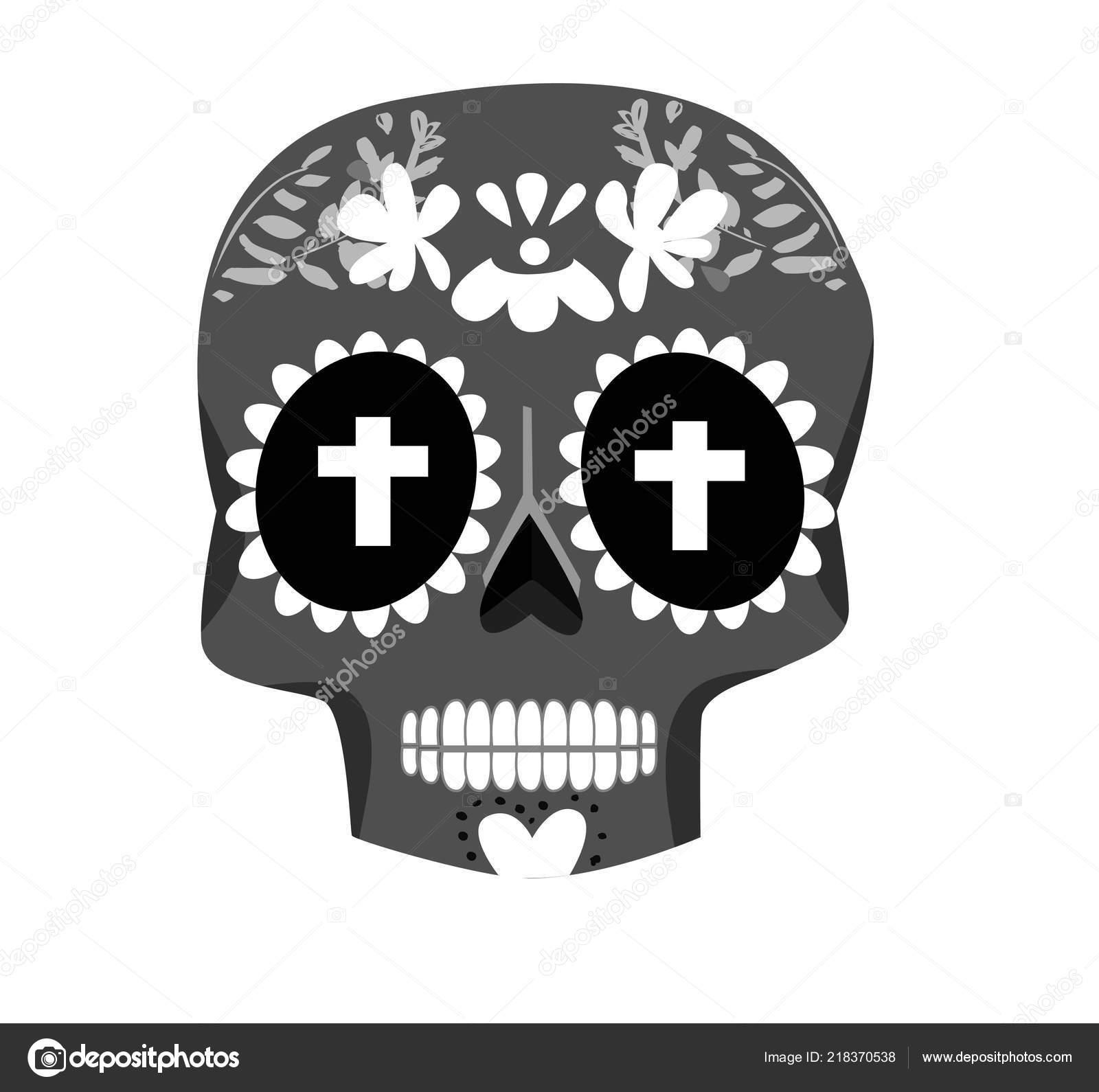 Day Dead Poster Skull Isolated White Background Vector Illustration