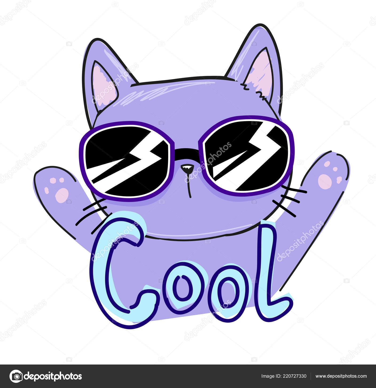 猫のサングラスと シャツのプリントがクールなベクトル イラスト