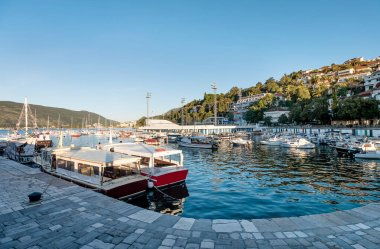 The sea with boats  in Herceg Novi town in Montenegro