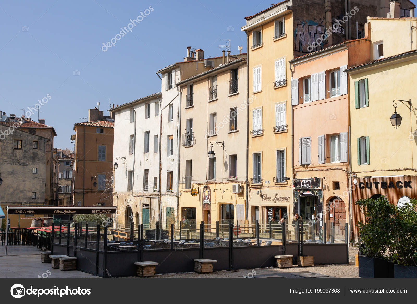 Provence France February 2018 Sunlit Facades Houses Architecture