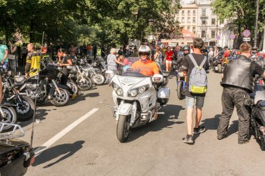 St. Petersburg, Russia - 4 August, 2018.  The annual Harley Davidson Motofestival on the street of the architect Rossi and Ostrovsky Square in St. Petersburg.