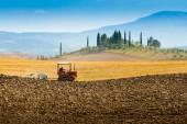 Orba na kopcích v jižním Toskánsku poblíž Siena, Itálie