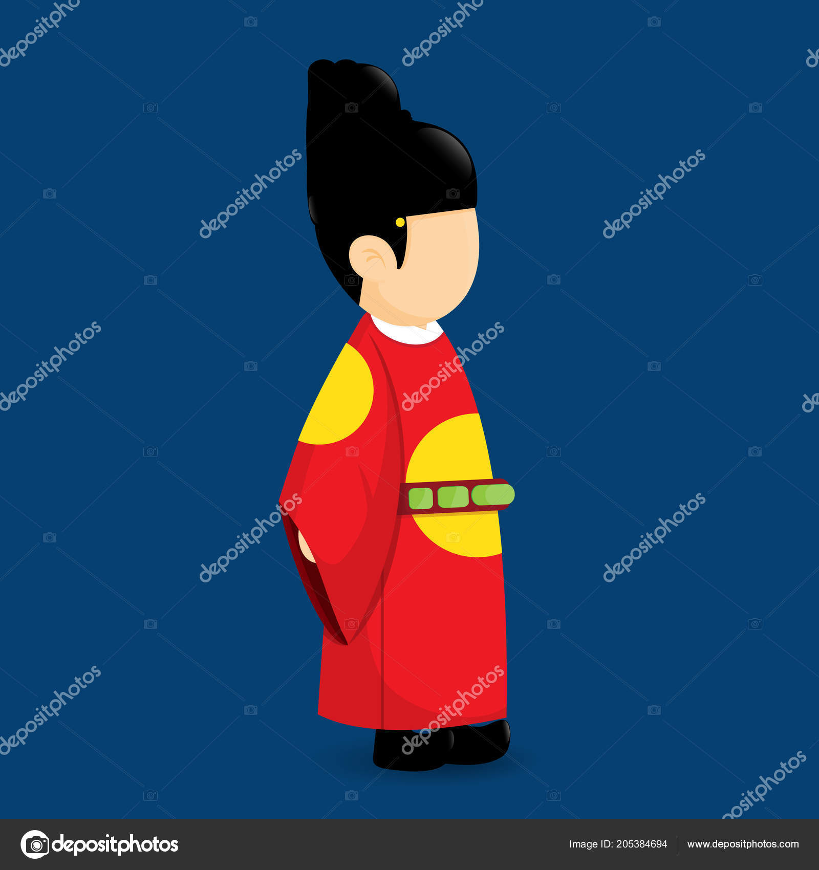 Korea King Traditional Costumer Vector Cartoon Design