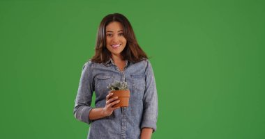 Portrait of happy Hispanic woman holding small potted plant on green screen