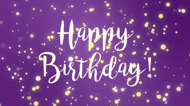 Szórakoztató lila boldog születésnapot üdvözlés kártya-val alá tartozó sárga fény részecskék.