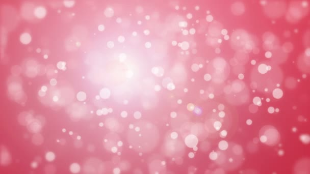 Beautiful glowing pink red bokeh background with floating light particles.