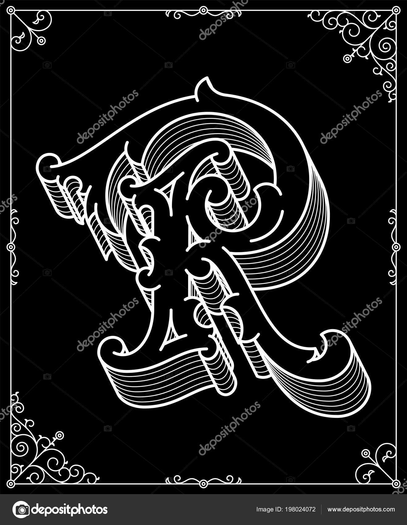 White Black Background Vector Illustration Depicting Modern Style Letter Stock Vector C Pennapazza 198024072