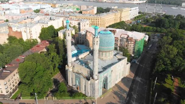 Aerial beautiful view on the Cathedral mosque in Saint-Petersburg in Russia. Sunrise in early summer morning in the city center .