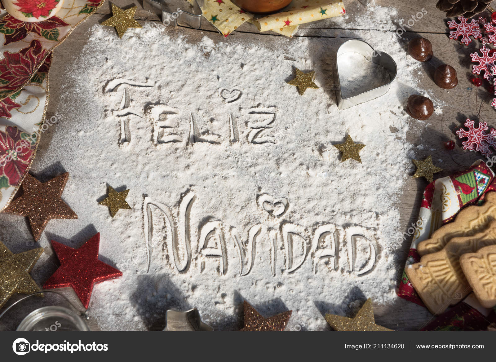 Feliz Navidad Spanish Text Made Flour Surrounded Christmas Decorations Seasonal — Stock Photo
