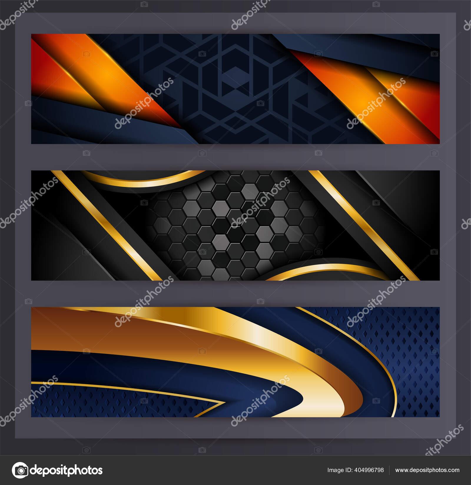 Horizontal Banner Set Collection Various Abstract Background Design Used Advertising Stok Vektor C Rtn Studio 404996798