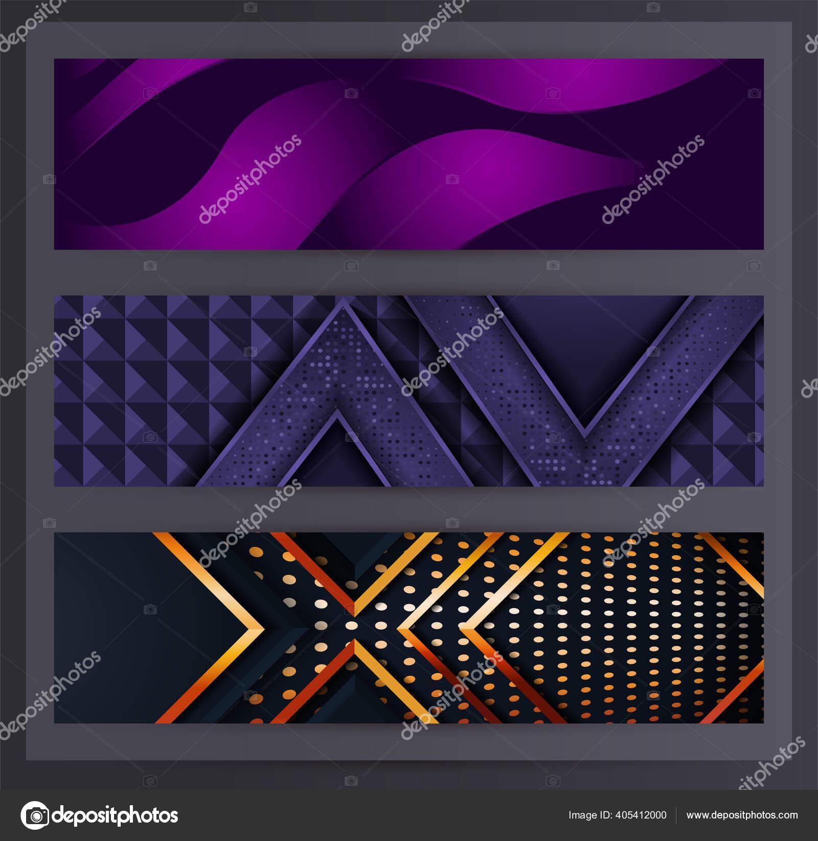 Horizontal Banner Set Collection Various Abstract Background Design Used Advertising Stok Vektor C Rtn Studio 405412000