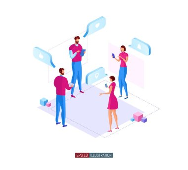 Trendy flat illustration. People online interaction concept. Social network. Online shopping. Exchange of ideas. Template for your design works. Vector graphics. icon