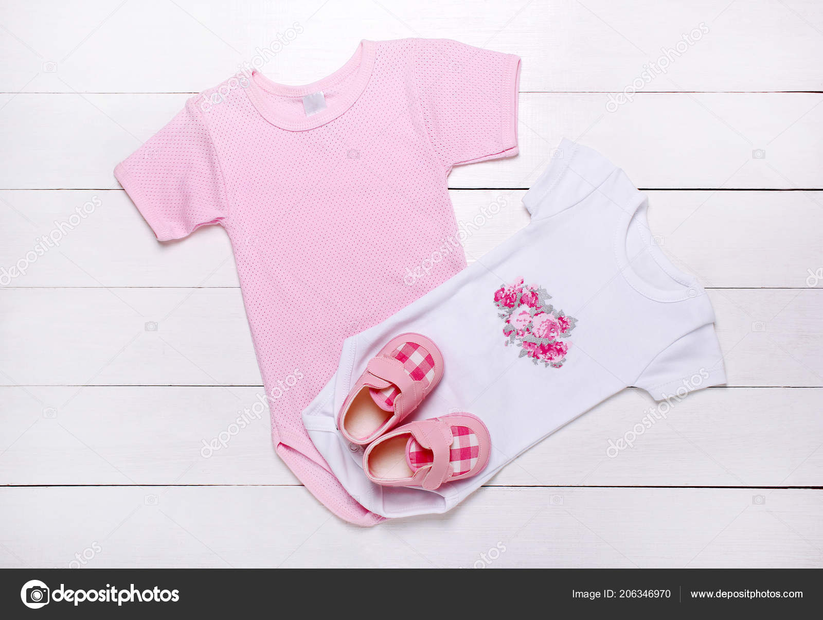 c29fbf0f6be1 Baby Clothes Newborn Girl White Background — Stock Photo ...