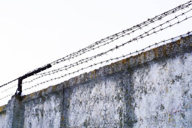 Barbed wire and a gray concrete wall against the background of the sky