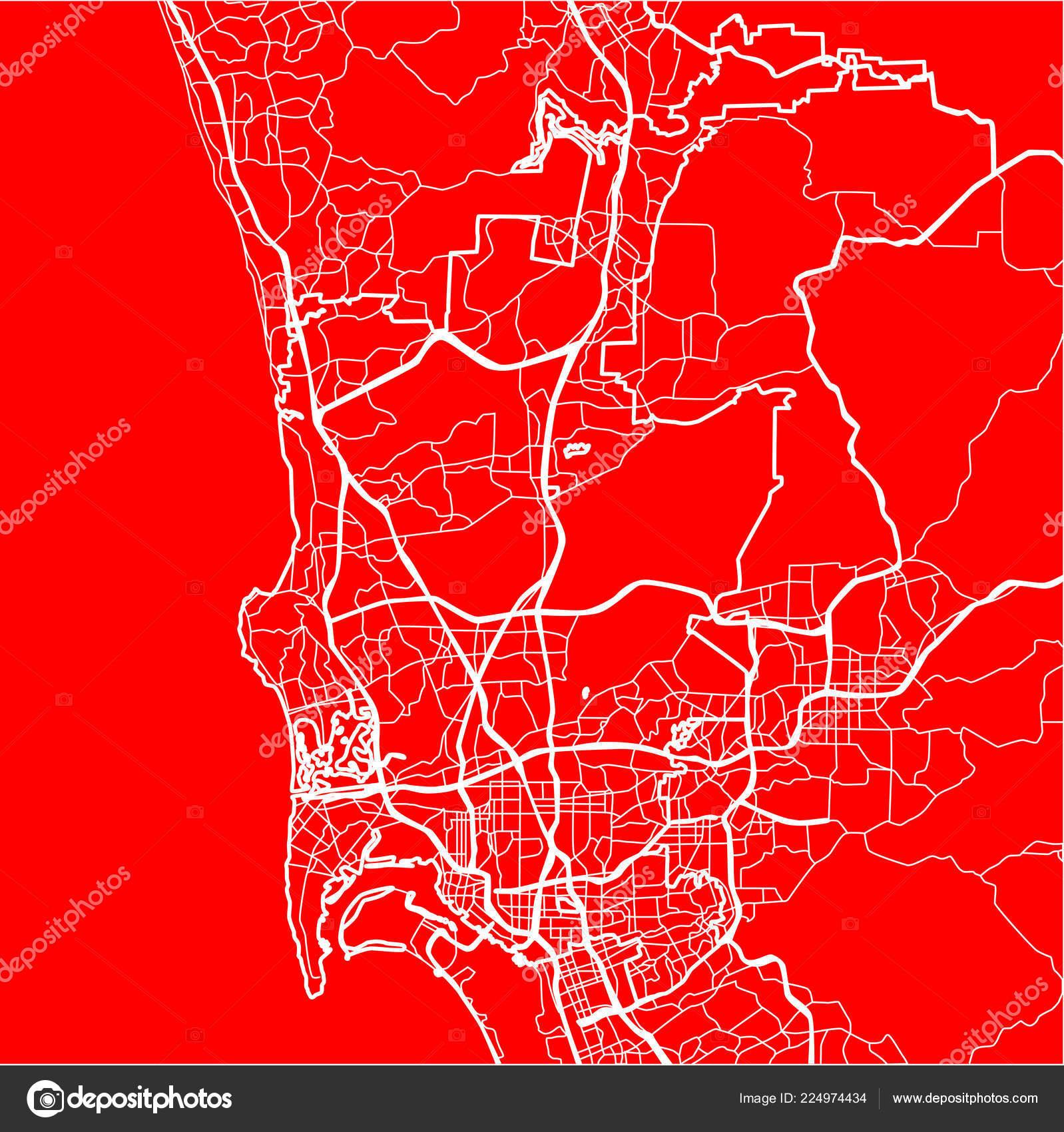 Flache Ausführungsplanung Stadtplan San Diego Den Usa ...
