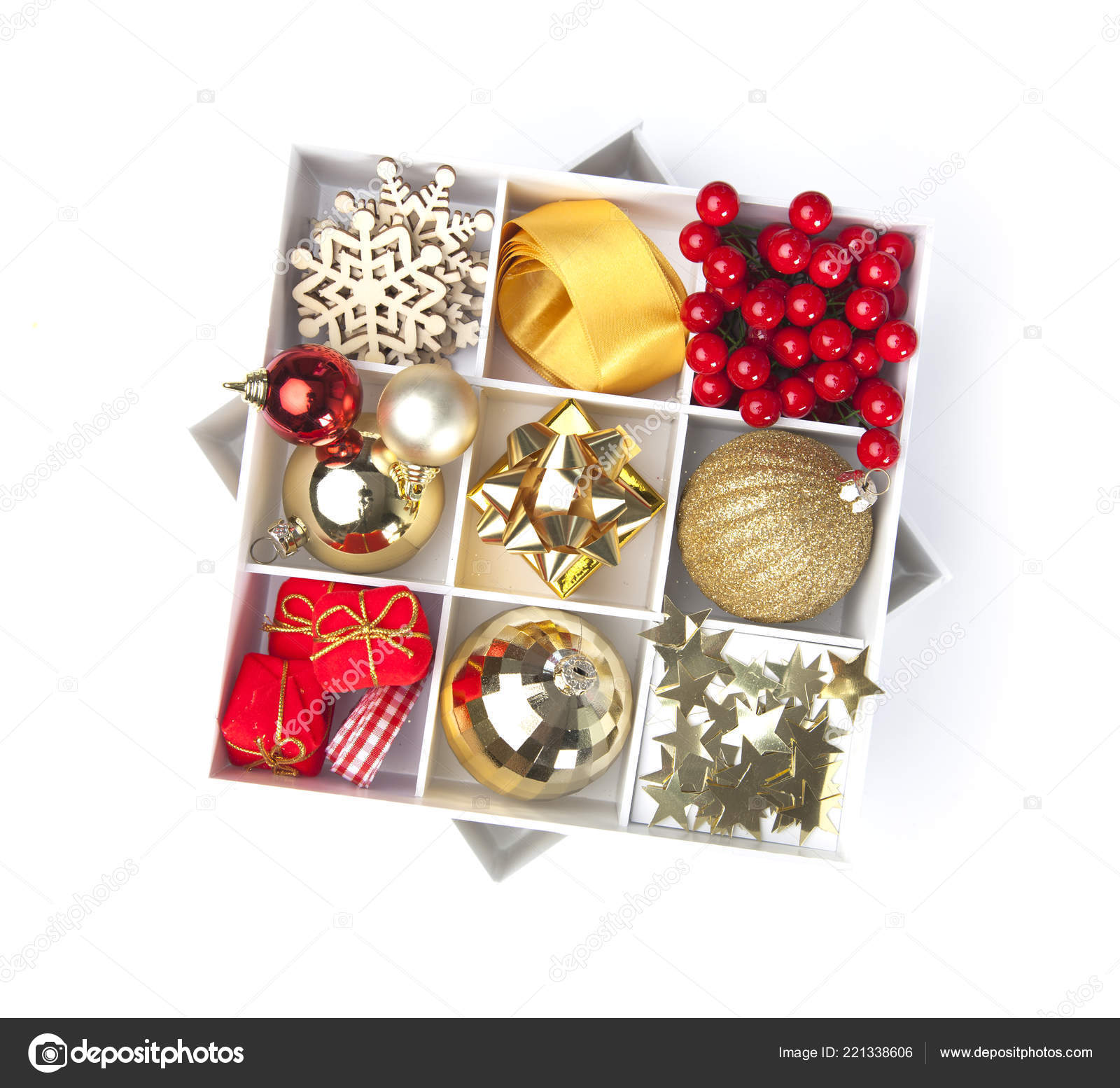 Christmas Tree Decorations Cardboard Box Isolated White Background