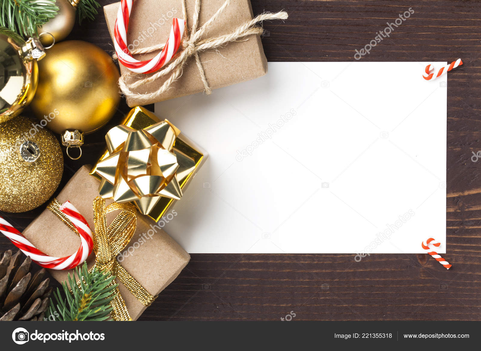 Christmas Card Gift Boxes Christmas Ornament Wooden Background ...