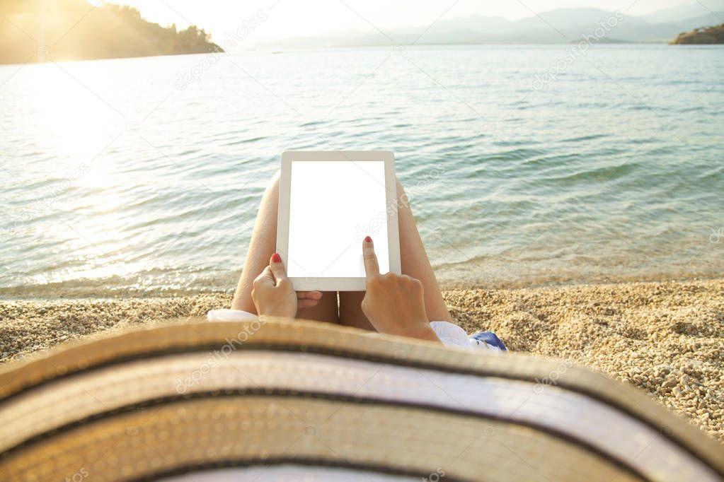 Tablet on beach