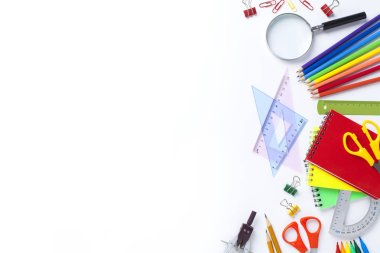 School supplies on white background. Back to school concept