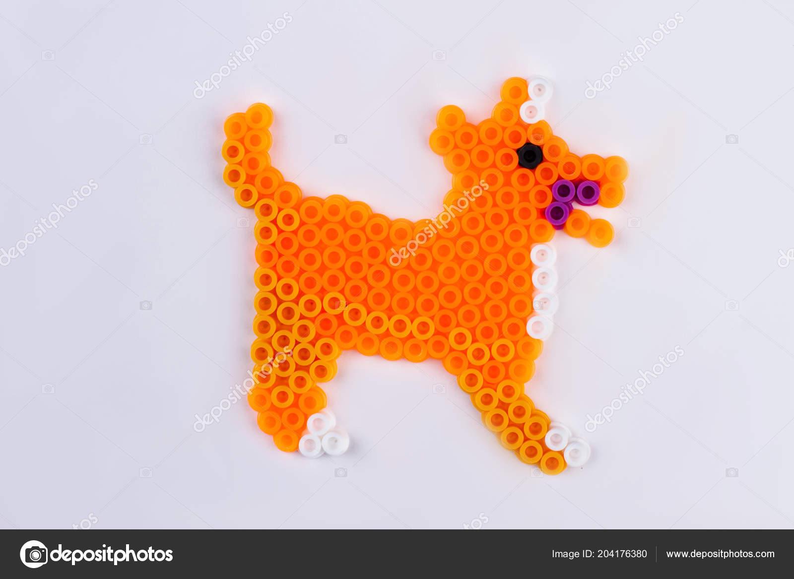 Orange Perler Bead Dog Close White Isolated Background — Stock Photo