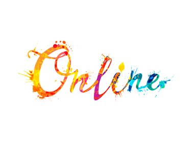Online. Word of colorful splash paint vector letters