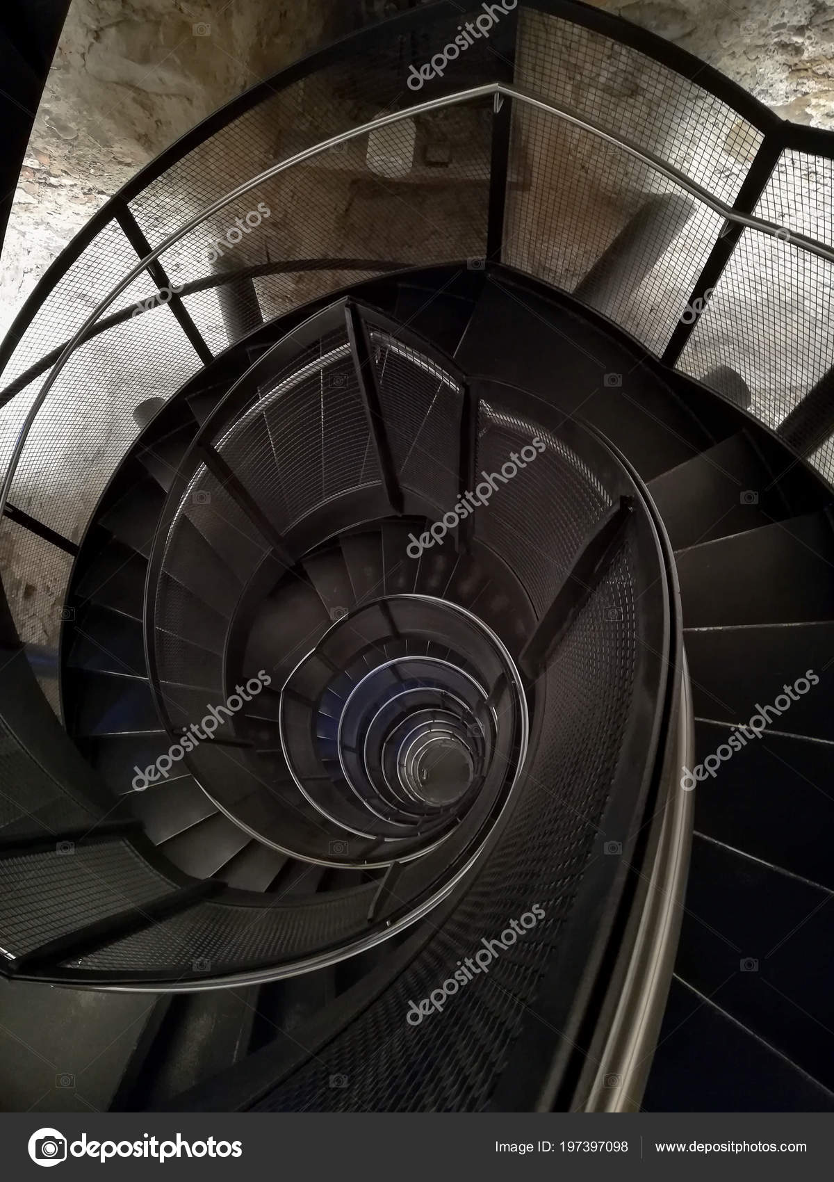 Spiral Staircase Top View Geometric Background — Stock Photo
