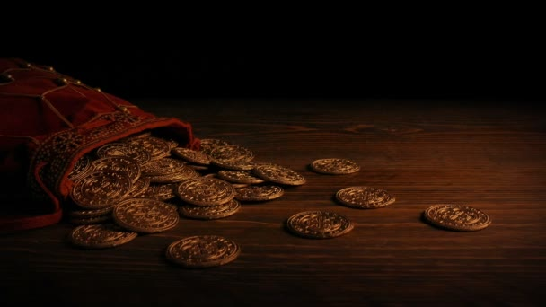 Gold Coins In Bag In Firelight