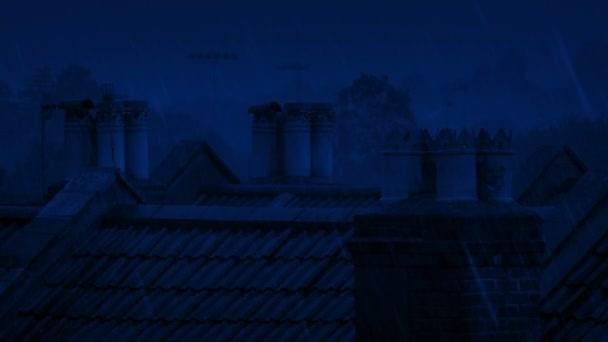 Komíny na střeše v silném dešti v noci