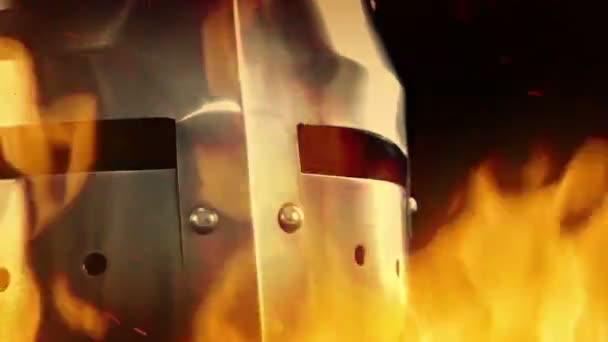 Medieval Knight Helmet In Flames
