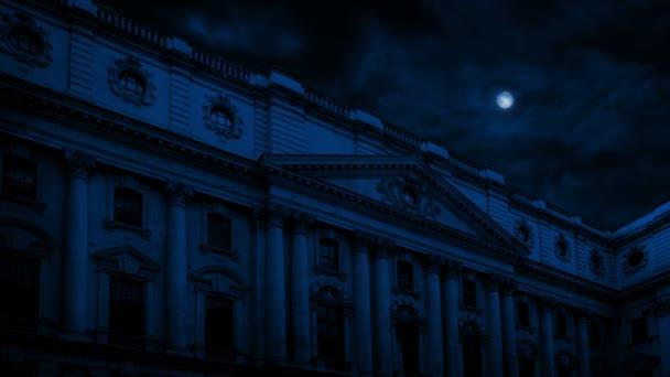 Old Mansion Building In Moonlight
